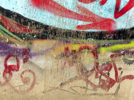 grafiti: Concrete, weathered, worn wall damaged paint. Grungy Concrete Surface.