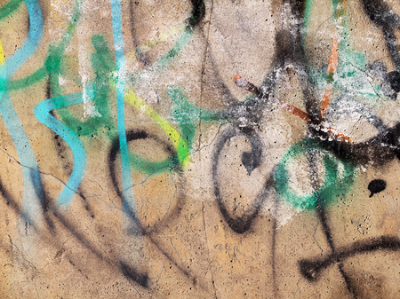 grafiti: Concrete, weathered, worn wall damaged paint. Grungy Concrete Surface. Great background or texture.