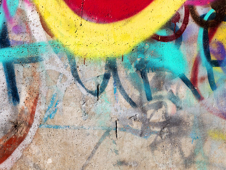 urban scene: Concrete, weathered, worn wall damaged paint. Grungy Concrete Surface. Great background or texture.