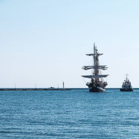 odessa: Odessa, Ukraine August 15, 2016: Training barquentine Italian Navy Palinuro comes to the Odessa seaport August 15, 2016. Editorial