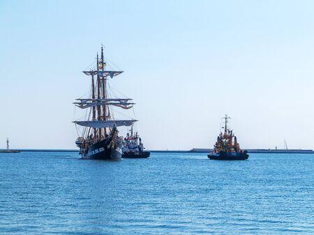 palinuro: Odessa, Ukraine August 15, 2016: Training barquentine Italian Navy Palinuro comes to the Odessa seaport August 15, 2016. Editorial