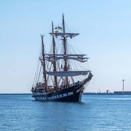 Odessa, Ukraine August 15, 2016: Training barquentine Italian Navy Palinuro comes to the Odessa seaport August 15, 2016. Editorial