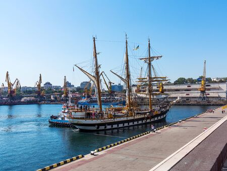 palinuro: Odessa, Ukraine August 15, 2016: Training barquentine Italian Navy Palinuro moored at the pier of the Odessa Sea Commercial Port in Odessa, August 15, 2016. Editorial