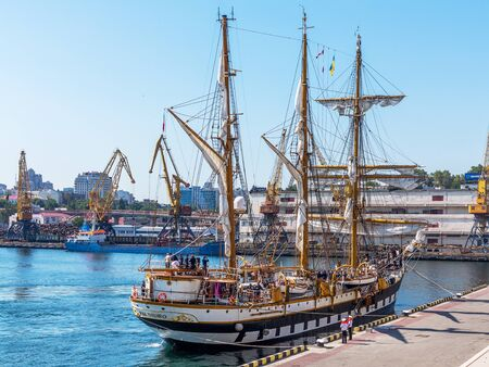 Odessa, Ukraine August 15, 2016: Training barquentine Italian Navy Palinuro moored at the pier of the Odessa Sea Commercial Port in Odessa, August 15, 2016. Editorial
