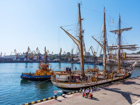 odessa: Odessa, Ukraine August 15, 2016: Training barquentine Italian Navy Palinuro moored at the pier of the Odessa Sea Commercial Port in Odessa, August 15, 2016. Editorial