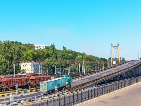 Odessa, Ukraine August 15, 2016: Transport cars and railway junction in the guiding commercial port in Odessa, Ukraine, August 15, 2016 Editorial
