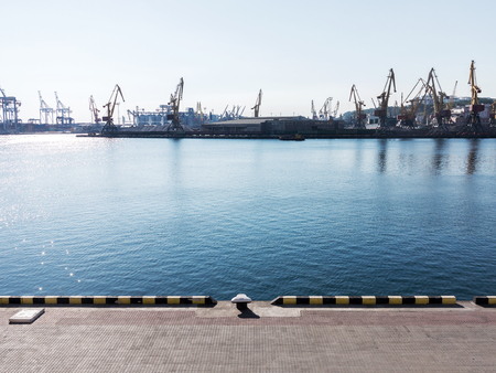 paralyzed: Odessa, Ukraine - August 15, 2016: Container cranes in cargo port terminal, cargo cranes without job in an empty harbor port. A crisis. Defaulted paralyzed entire economy of state