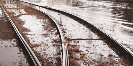 caused: Flooded tramways during the floods caused by torrential rains. Disaster. Stock Photo
