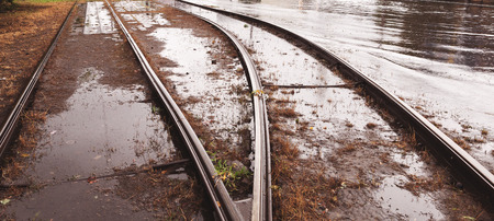 rains: Flooded tramways during the floods caused by torrential rains. Disaster. Stock Photo