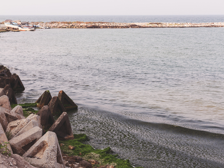 strengthening: strengthening the shore, wave absorbers near Tyulenovo, Black Sea, Bulgaria Stock Photo