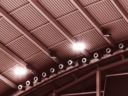 sports complex: Abstract blurred background modern design metal-ceiling in concert and sports complex