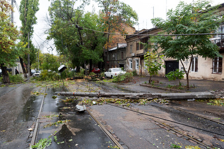 overturn: Odessa, Ukraine - October 12, 2016: Hurricane CHRISTIE. Heavy rain and gale - force gusts of wind caused accident - old tree during storm fell on car and destroyed house. Strong storm with rain Editorial