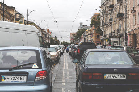 city traffic: Odessa, Ukraine - October 13, 2016: Traffic jams on the streets of the city, formed after Hurricane Kristy. Toning