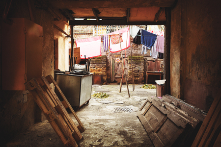 overhaul: Destroyed houses in a poor quarter for the poor people. Without funding overhaul is the destruction of old houses