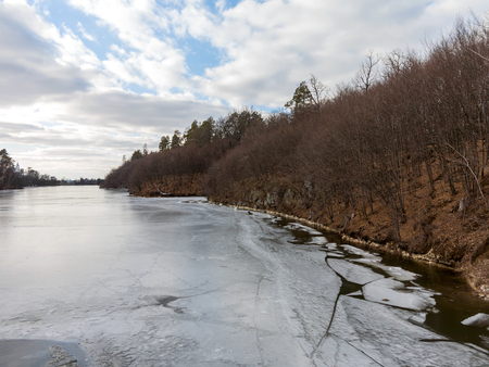 Winter landscape. Grouse River covered with ice in Zhitomir, Ukraine. Stock Photo