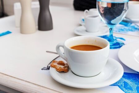Modern restaurant interior with coffee on the table Stock Photo