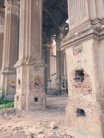 lutheran: Ruins of ancient Lutheran church in Odessa, Ukraine. Historic building in 1803 built first German settlers destroyed by vandals of proletariat during revolution in Russia in 20th century.