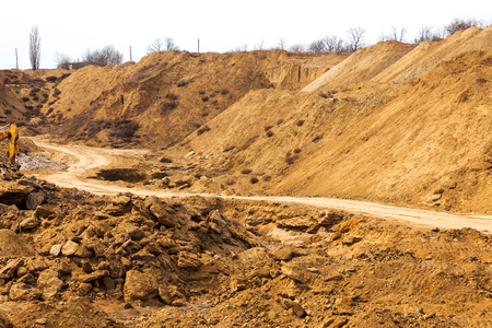 mine site: Industrial sand quarry. Sand pit. Sand special for construction. Construction industry.