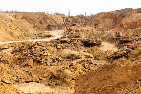 industrial machinery: Industrial sand quarry. Sand pit. Sand special for construction. Construction industry.