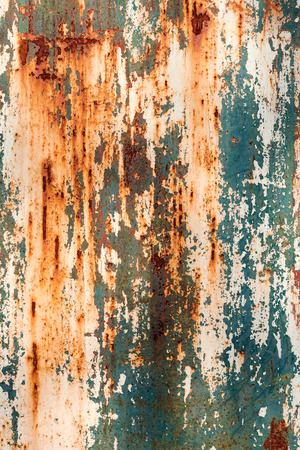 corroded: Creative bright metallic background. Flat background texture of dirty rusty metal. Bright rusty spots as the main background for a vintage scratched design Stock Photo