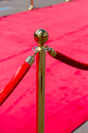 Way to success on the red carpet (Barrier rope) Stock Photo