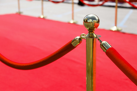 Way to success on the red carpet (Barrier rope) 免版税图像