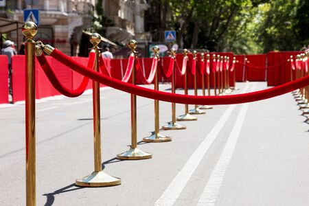 elegant staircase: Way to success on the red carpet (Barrier rope) Stock Photo