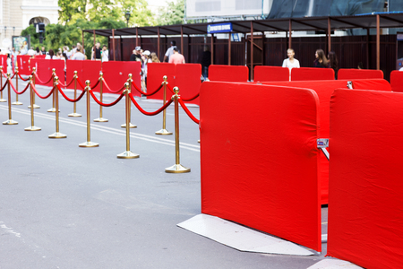 red barrier velvet: Way to success on the red carpet (Barrier rope) Stock Photo
