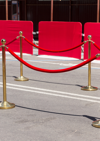 velvet rope barrier: Way to success on the red carpet (Barrier rope) Stock Photo