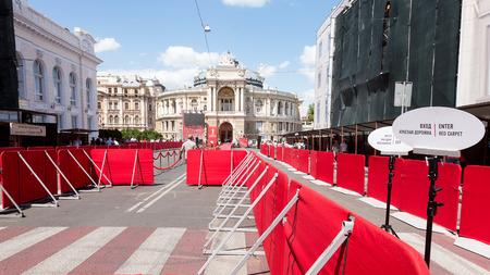 Odessa, Ukraine - July 15, 2017: Way to success on the red carpet (Barrier rope). Odessa international film festival, July 15, 2017, Odessa.