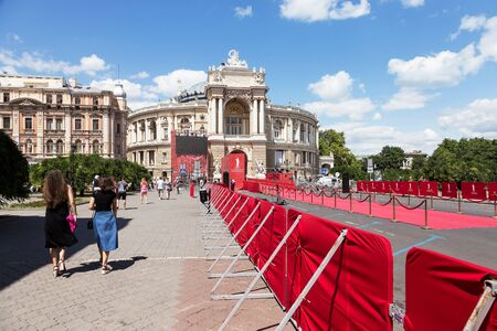 elegant staircase: Odessa, Ukraine - July 15, 2017: Way to success on the red carpet (Barrier rope). Odessa international film festival, July 15, 2017, Odessa.