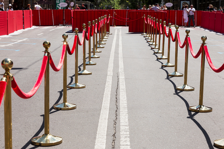velvet rope barrier: Odessa, Ukraine - July 15, 2017: Way to success on the red carpet (Barrier rope). Odessa international film festival, July 15, 2017, Odessa.