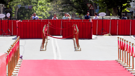 red barrier velvet: Odessa, Ukraine - July 15, 2017: Way to success on the red carpet (Barrier rope). Odessa international film festival, July 15, 2017, Odessa.