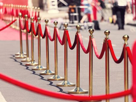 red barrier velvet: Way to success on the red carpet (Barrier rope). Selective focus