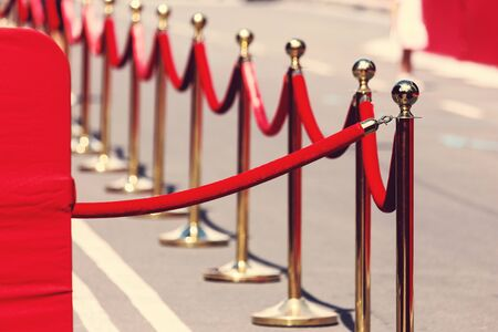 velvet rope barrier: Way to success on the red carpet (Barrier rope). Selective focus