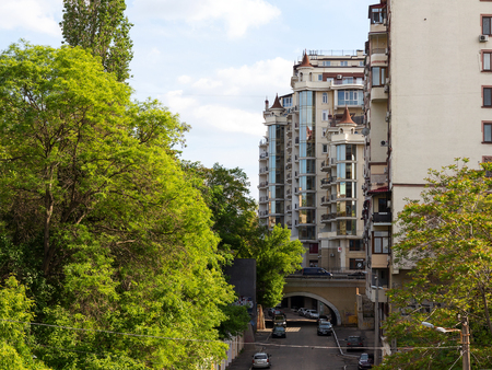 Odessa, Ukraine - may 17, 2017: Cityscape residential quarter in the city centre on a summers day. The view from the bridge.