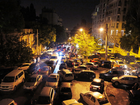 Odessa, Ukraine - July 28, 2017: Chaotic traffic jams in the city road at night