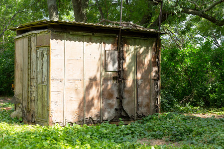 Vintage shed in garden. Old abandoned wooden shed among the greenery in the garden on  Sunny summer day.
