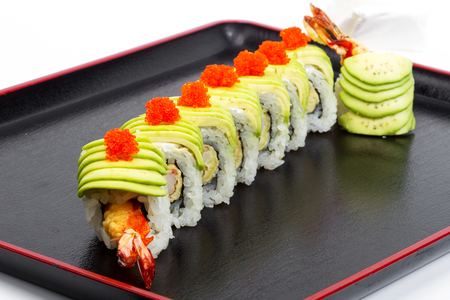 Sushi. Delicious gourmet food on the table. Gourmet cuisine in white dish. Creative restaurant concept.