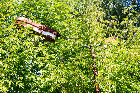 scrapyard: Old rusty street lamp in thicket of trees. Overgrown trees and plants of streets of towns and villages in Chernobyl zone. Years later, after the nuclear explosion at Chernobyl. Ghost town Pripyat