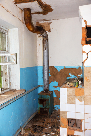 Abandoned House Interior In Chernobyl.Chernobyl radioactive contamination. Consequences of looting and vandalism after an explosion. People left city during disaster