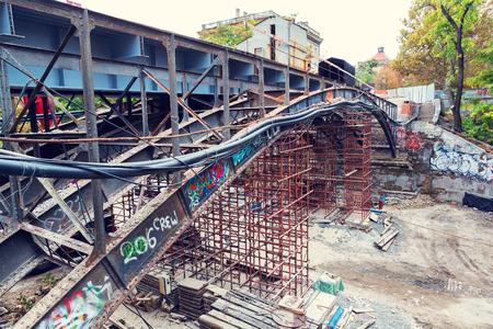 Odessa, Ukraine - October 11, 2016: Bridge repair. Metallicheskie support of the bridge. Carried out scheduled repair work on the reconstruction of the old town bridge.