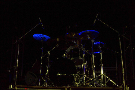 Live music photo background, rock drum set with cymbals. Closeup photo, soft selective focus Stock Photo - 85067425