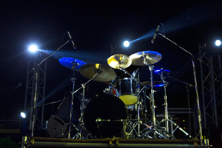 Live music photo background, rock drum set with cymbals. Closeup photo, soft selective focus Stock Photo - 85067426