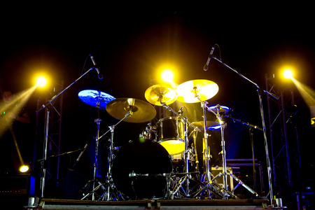 Live music photo background, rock drum set with cymbals. Closeup photo, soft selective focus Stock Photo