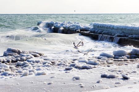 Paesaggio marino invernale Neve, ghiaccio, onde enormi che battono contro la riva e si ghiaccia. Un disastro naturale sotto forma di tempeste e forti gelate ha portato alla formazione di ghiaccio sulla costa del Mar Nero nei pressi di Odessa.