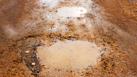 Bad road. Pits, potholes and puddles after rain on paved road. Background is an old road with cracked asphalt, gravel and sand. Road wet from rain and snow that needs maintenance. Dangerous road, road closed, destroyed canvas.