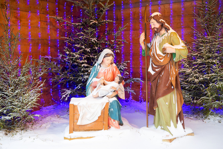 Christmas stylized composition of the birth of Jesus Christ and gifts of the Magi. Christianity, Catholicism.