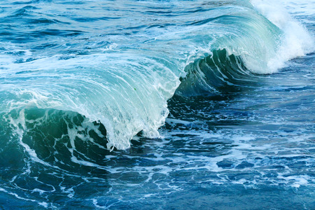 Strong Sea Wave and Blue water color, big crashing wave