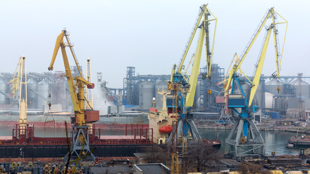 Industrial container freight Trade Port scene in foggy cloudy day